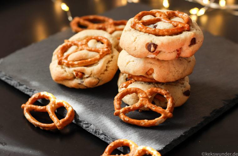 Schoko Kekse mit Brezeln