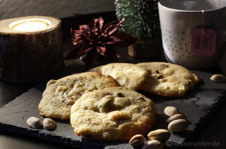 White chocolate cookies mit Pistazien